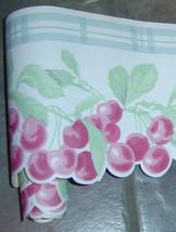 WAVERLY-Cherry Plaid-Blue-Dangling Cherries-Sculpted Laser Cut Wallpaper Border - $9.38