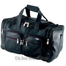 """19"""" Black Leather Tote Bag Gym Duffle Carry On with Reinforced Bottom So... - $39.96"""