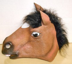 Horse- Full-Head Latex-Rubber Mask With Real Hair Mane - $19.79