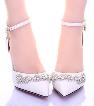 9CM Heel Cystal closed toe wedding shoes,Bridal Kitten Heels,Bridal Kitt... - £70.79 GBP
