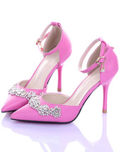 Hot Pink 9CM Heels Cystal closed toe wedding shoes,Bridal Kitten Heels/s... - £70.79 GBP