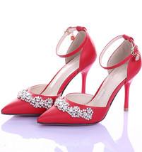 Red 9CM Heel Cystal closed toe wedding shoes,Bridal Kitten Heels,Bridal ... - £70.79 GBP