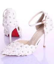 9CM Heel Flower closed toe wedding shoes,Bridal Kitten Heels,Bridal Kitt... - £70.79 GBP