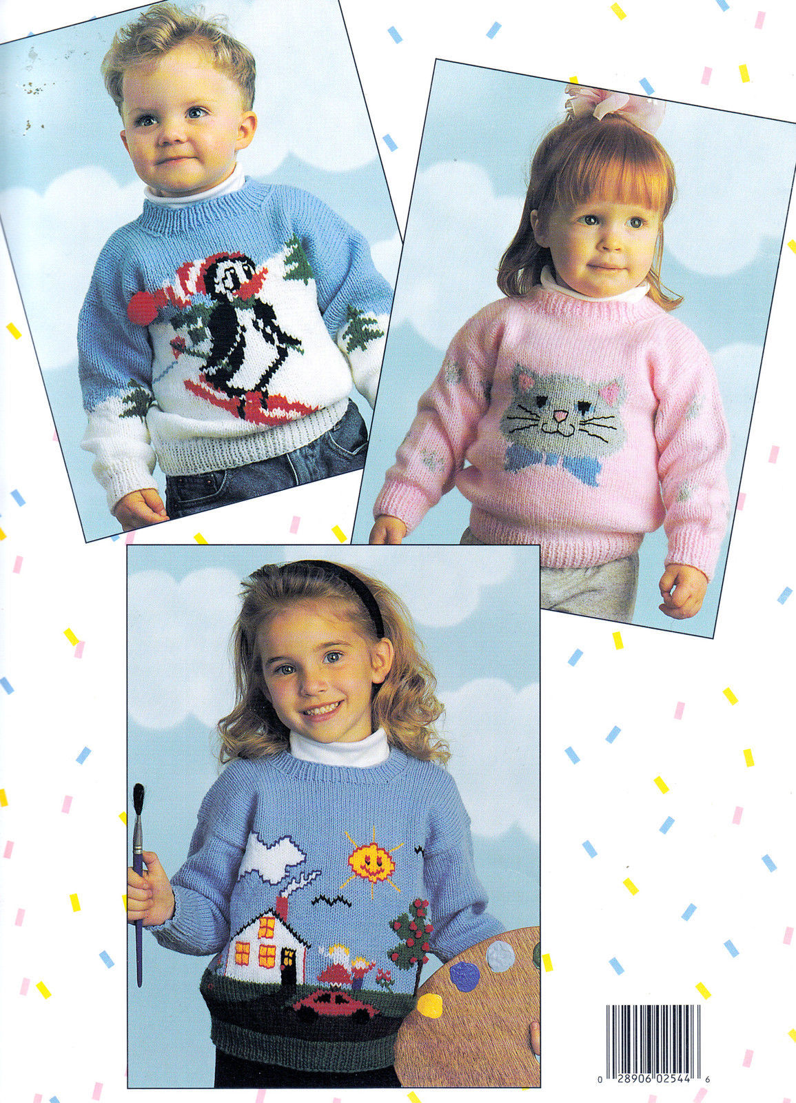 Primary image for MORE KID STUFF *5 KNITTED SWEATERS UP TO SIZE 10 BOYS & GIRLS 2544 LEISURE ARTS