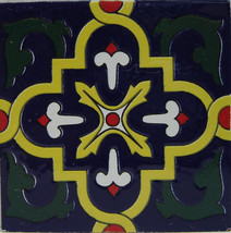 "Colorful TEE-403 Decorative Mexican Ceramic Tile 4"" x 4"" - Set of 4 Tiles - $9.99"