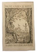 Ex Libris Etching Julio Cesar Salvatierra Pan Vive Nunca Ha Muerto Andre... - $123.75