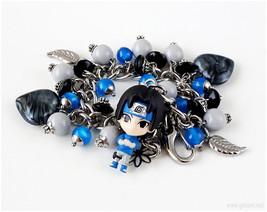 Uchiha Sasuke Anime Bracelet, Black, Blue, Stainless Steel - $43.00