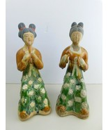 2 Antique Japanese Ceramic Pottery 2 Women Playing Flute & Symbols - $388.96