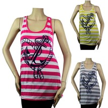 Cute Hart Print Stripe TANK TOP Racer Back Layering Comfy Casual Tunic S... - $15.99