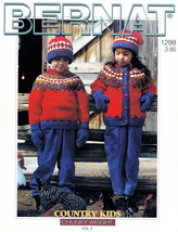 KNIT COUNTRY KIDS PATTERN CHUNKY WEIGHT BERNAT #1298 HATS CARDIGANS SWEA... - $6.99