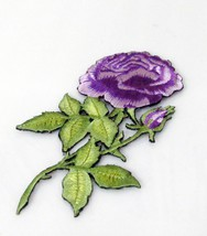 3 PC  HANDMADE SEWN NOTION GARMENT CRAFT EMBROIDERY PURPLE FLORAL IRON B... - $6.50