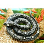 Vintage Coiled Snake Brooch Pin Black Figural Rattlesnake Rhinestones - $24.95
