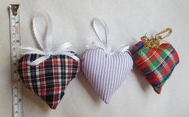 3 Vintage Handmade Heart Pillow Christmas Xmas tree holiday Ornaments Decor - $12.86