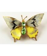 Vintage enameled metal rhinestone butterfly pin brooch Czechoslovakia - $18.00