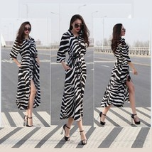 Flare Black and White Zebra Print Button Down Long Sleeve Maxi Shirt Dress