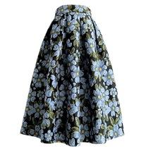 Pink Rose Flower Midi Skirt Plus Size Elegant A-line Pleated Midi Party Skirt image 7