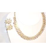 Vintage Aurora Borealis Rhinestone Necklace Earrings Matching Set - $89.00