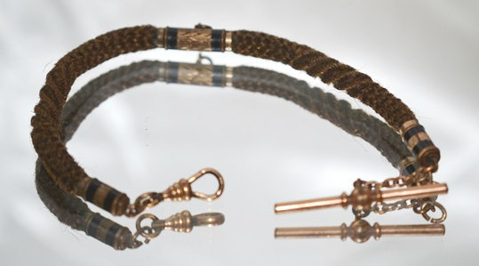 Primary image for Antique Victorian Table Worked Hair Watch Chain c1860