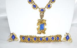Antique Lapis Lazuli Necklace Earrings and Bracelet Art Deco Era - $278.00