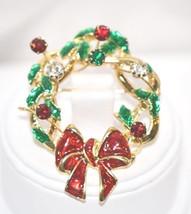 Enamel Wreath w/Rhinestones on Winding Wire - $22.00