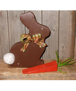 Wood chocolate bunny with carrot - $21.95