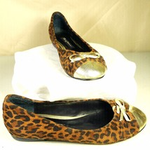 Beverly Feldman Leopard Amimal Print Flats Loafers Gold Toe & Gold Bow S... - $29.99