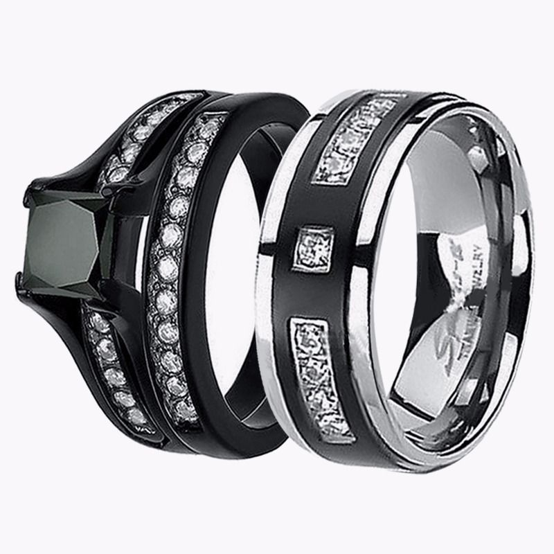 his hers 3 925 sterling silver black titanium chic