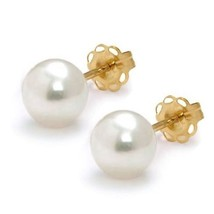 8-9mm Lovely  AAA Freshwater White Pearl Earrings w/ 14k Solid Yellow Go... - $59.39