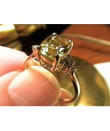Solid 9k 375 yellow GOLD Ring 7.5 natural HELIODOR BERYL solitaire estat... - $185.89