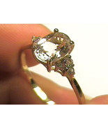 Solid 9k 375 yellow GOLD Ring 11 Natural white Sapphire wedding engageme... - $233.58