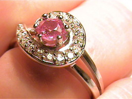 Silver 925 RING 7 natural ruby  PAVE DELICATE GEM SOLITAIRE WHITE SAPPHI... - £43.36 GBP