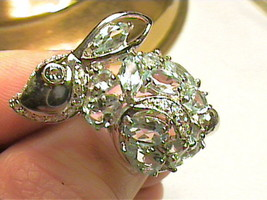 aqua aquamarine white sapphire sterling silver 5.5 ring 925 sterling sil... - $73.69