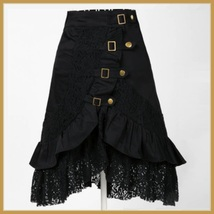 Gypsy Steam Punk Vintage Goth Ruffled Black Knee Length Layered Lace Skirt image 1