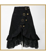 Gypsy Steam Punk Vintage Goth Ruffled Black Knee Length Layered Lace Skirt - $79.95