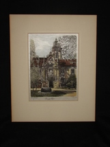 "Original Austrian Silk Etching by H. Leisch ""Versailles"" - $20.00"