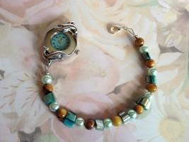 Dolphin Themed Beaded Watch, Silver Plate, Hand... - $20.00