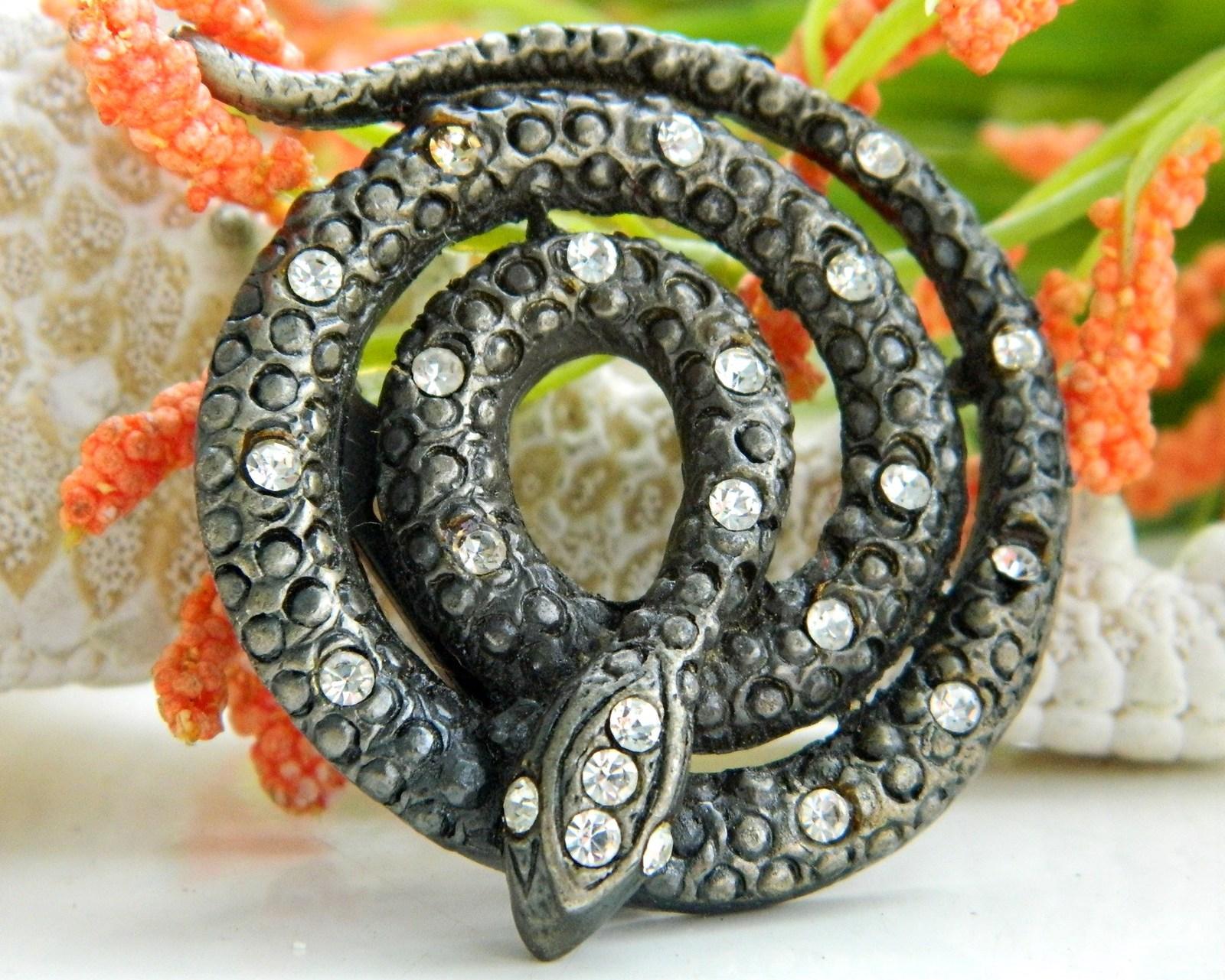 Vintage Coiled Snake Brooch Pin Black Figural Rattlesnake Rhinestones