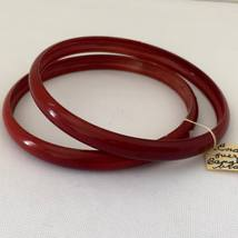 Vintage Jewelry Red Enamel Cooper 2 Bangle Bracelets - $35.00