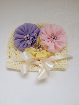 NEWBORN BABY GIRL IVORY BEANIE HAT WITH LAVENDER, PINK AND YELLOW FLOWERS - $14.00