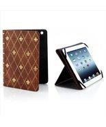Brookstone Classic Case For iPad Tablet Tan Fleur De Lis - $26.99