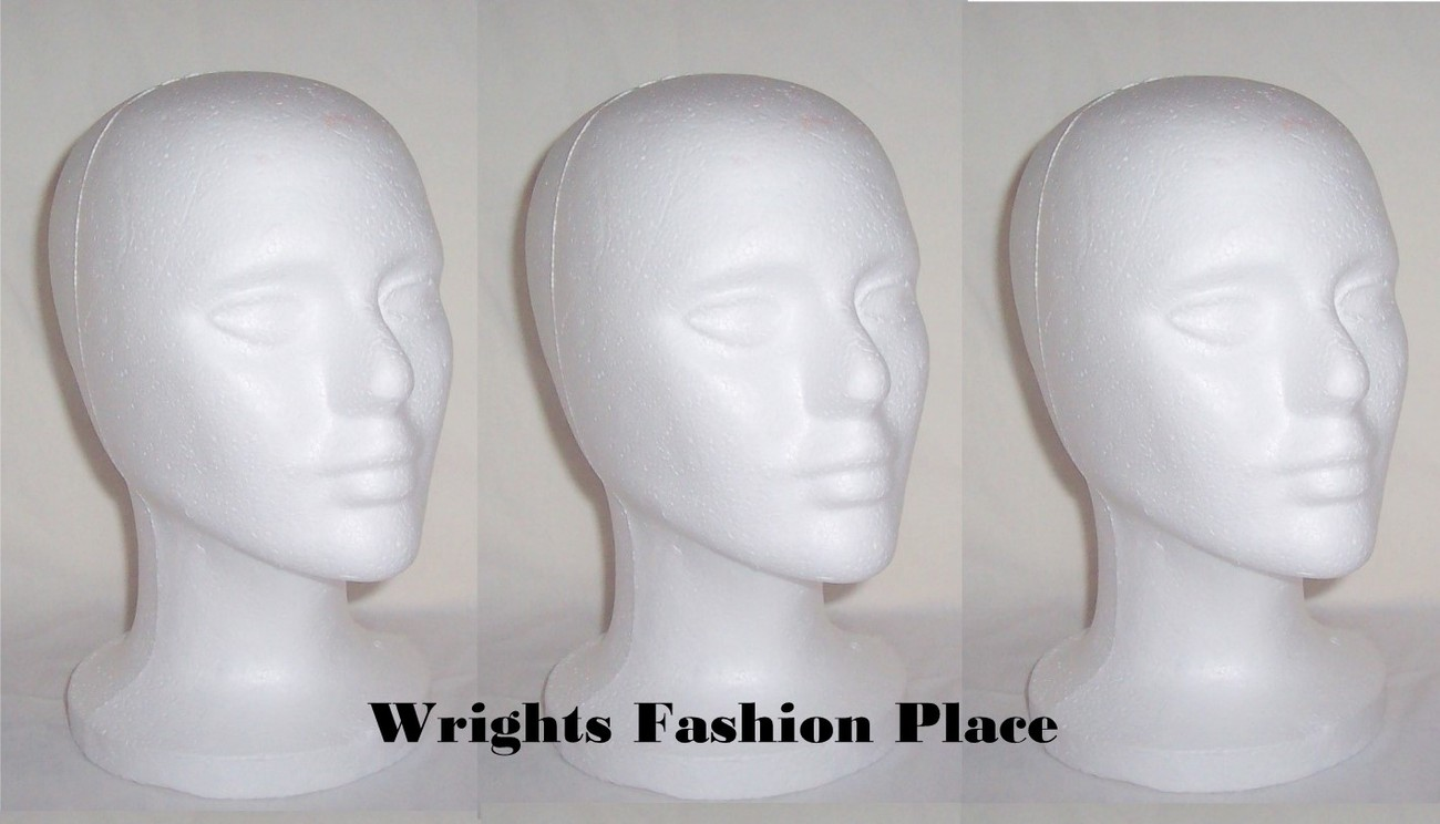 White Foam Female Styrofoam Model Mannequin Craft Display 3 Hair Wig Heads New