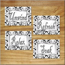 Gray Black White Bathroom Wall Art Print Picture Quote Relax Soak Unwind+ Damask - $13.99