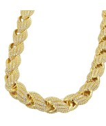Men's Gold Rope Chain With Diamonds - £96.68 GBP+