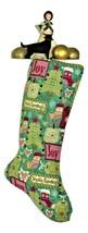 Christmas Joy Stockings, Seasons Greetings Stocking, Unique Lined Xmas Sock - $17.00