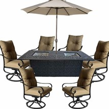 Propane fire pit dining table set 9 piece outoor cast aluminum  patio furniture. image 1