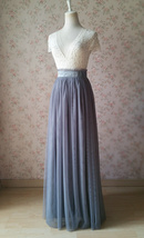 GRAY High Waist Tulle Skirt Women Gray Maxi Tulle Skirt Wedding Bridesmaid Skirt