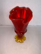"Vintage Ambernia Viking Glass Flame Vase 7"" - $25.00"