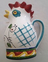 Vintage Clay Art Mosaic Rooster Pitcher Hand Painted - €25,63 EUR