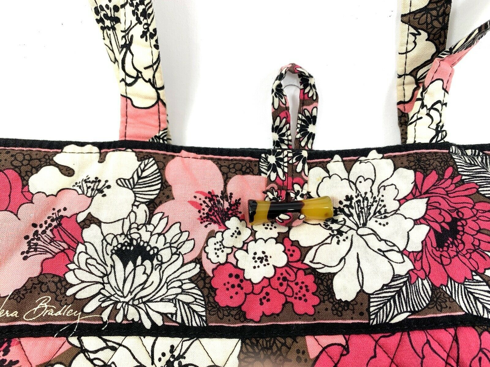 Vera Bradley Floral Motif Tote Hand Bag • Excellent • FREE Shipping image 2