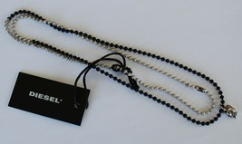 Diesel Unisex A-MARBLE Necklace X04630 Silver/BlackBNWT 100% Authentic - $39.75